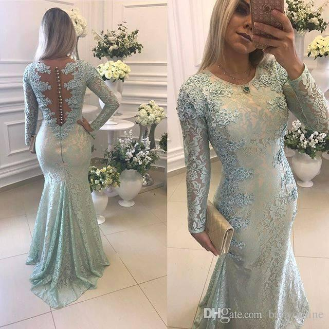 2018 Sage Mermaid Evening Dresses Jewel Neck Long Sleeves Lace Applique Sweep Train Satin Formal Prom Dress Pleats Party Gown Custom BA7400
