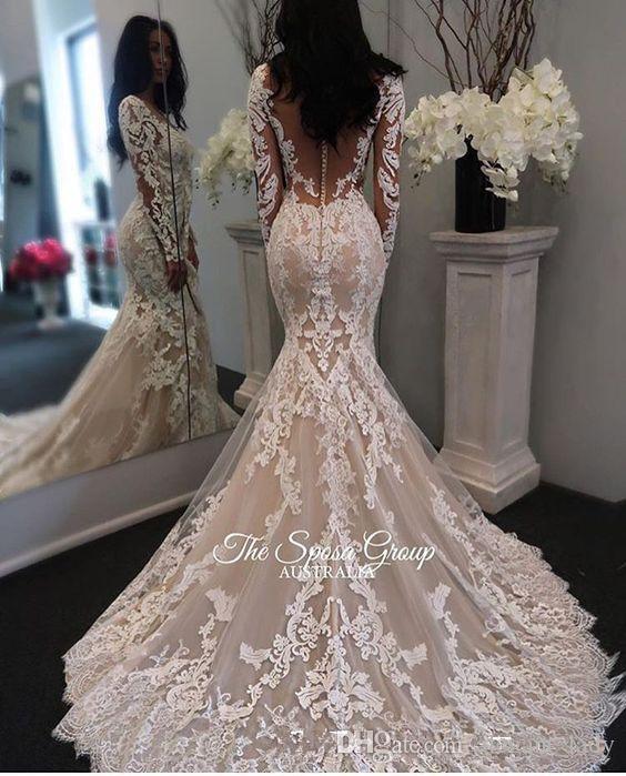 2019 Nova Ilusão mangas compridas Lace Mermaid vestidos de casamento Tulle Applique Tribunal princesa noiva vestidos de noiva com botões