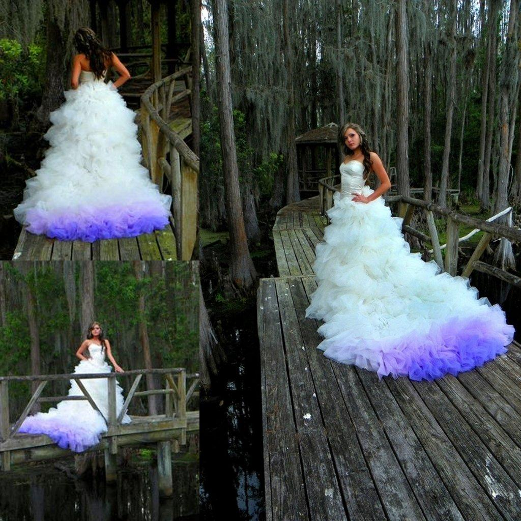 Indigo Colored Princess Wedding Dresses Ball Gown Tulle Bridal ...