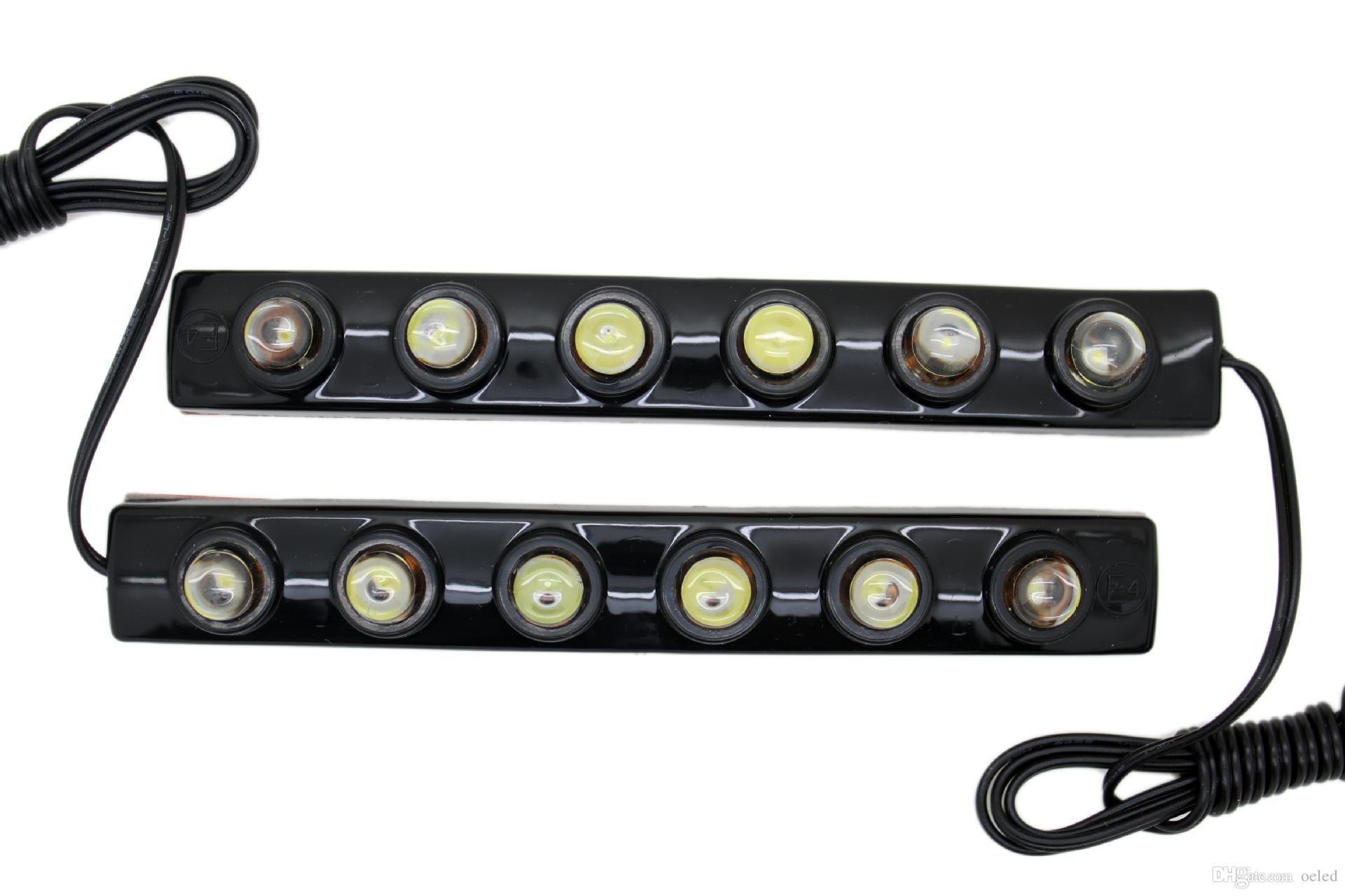 6 LED 17CM Гибкие универсальные Белые дневные Рабочие Вождение DRL / Хвост Обратный Гибкий Для Автомобиля Легкая Лампа Декоративный Орел Глаз