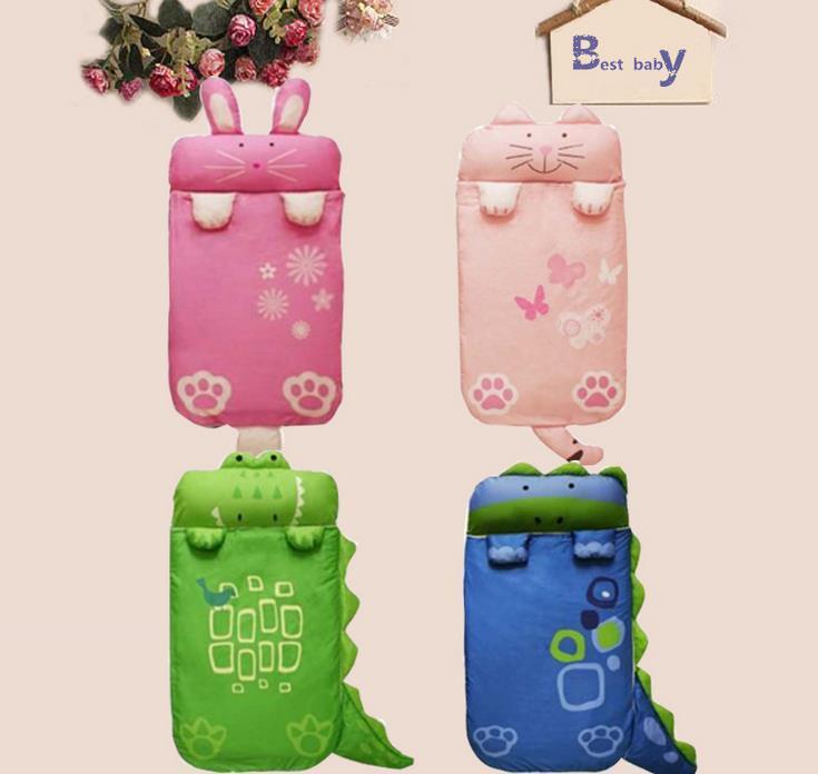 New Baby Kids Cartoon Sleeping Bag Bed Swaddle Blanket Wrap Cat Rabbit Dinosaur Crocodile Children Thick Sleeping Bags 905