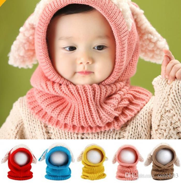 Cute Baby Cap Shawl Knitted Hat Neck Warmer Kids Knitting Beanies Cloak Caps  Children Winter Hats For Boys Girls UK 2019 From Sunbb03 bcd49093459