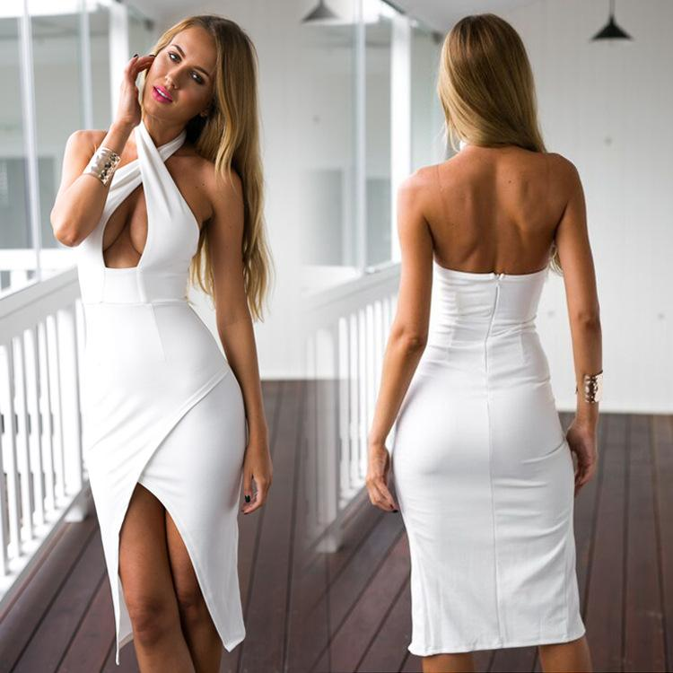 White Chiffon Front Silt Casual Style Backless Halter Top: Hot Sale Cheap Lady Dress 2016 Sexy Backless Sheath