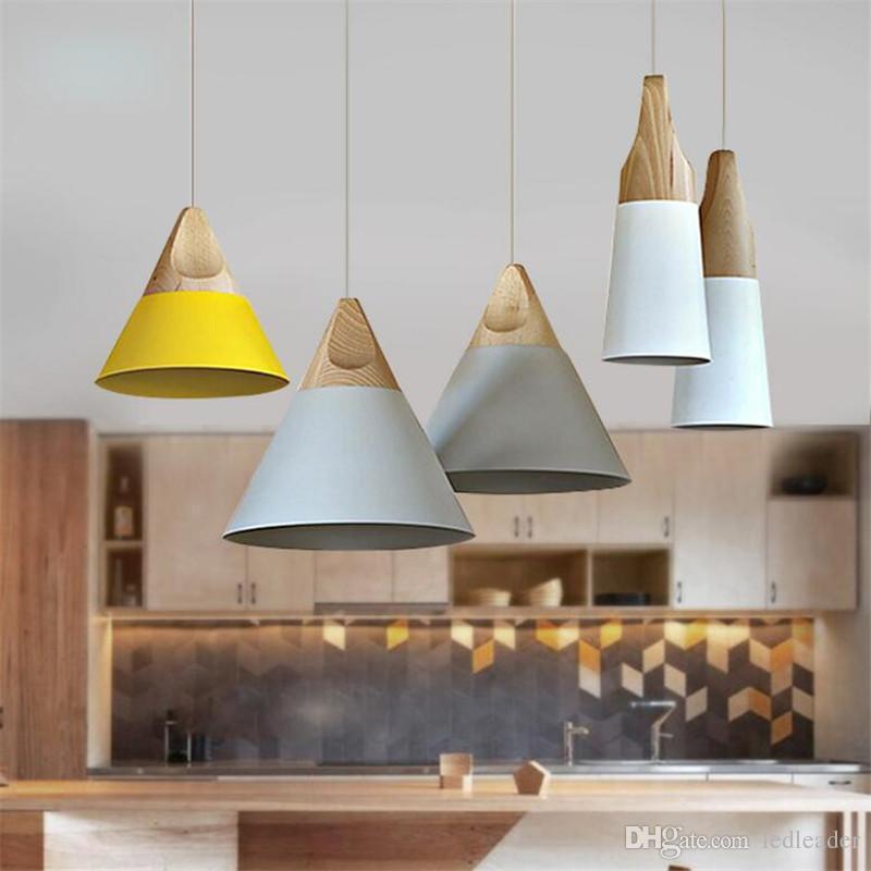 L70-moderne holz pendelleuchten bunte aluminium lampenschirm lamparas leuchte esszimmer lichter pendelleuchte für hauptbeleuchtung