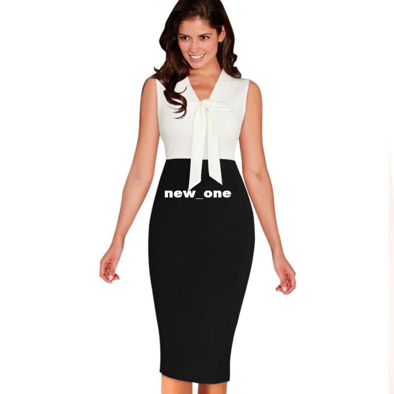 Vfemage Womens Summer Elegant Colorblock Sleeveless Bowknot Wear To