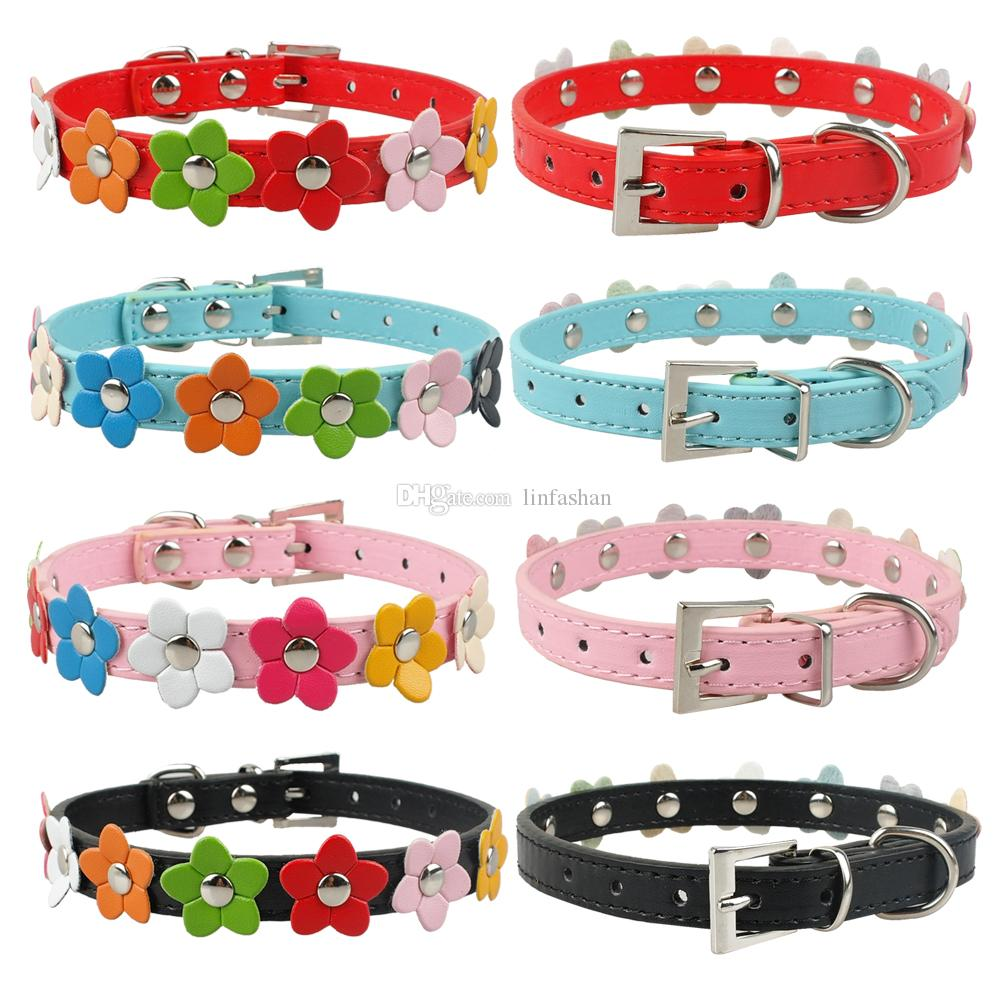 Puppy Dog Collars PU Leather Dog collar With Cute Flowers Pink Red Blue Black Colors 4 Sizes