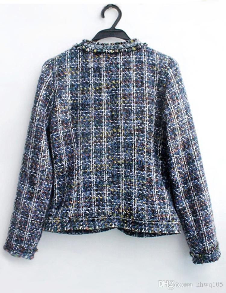 Ladies Plaid Wool Coats Blue Beaded Tweed Jacket High Quality Women Short Trench Coat Winter Warm Overcoat ZRF0905