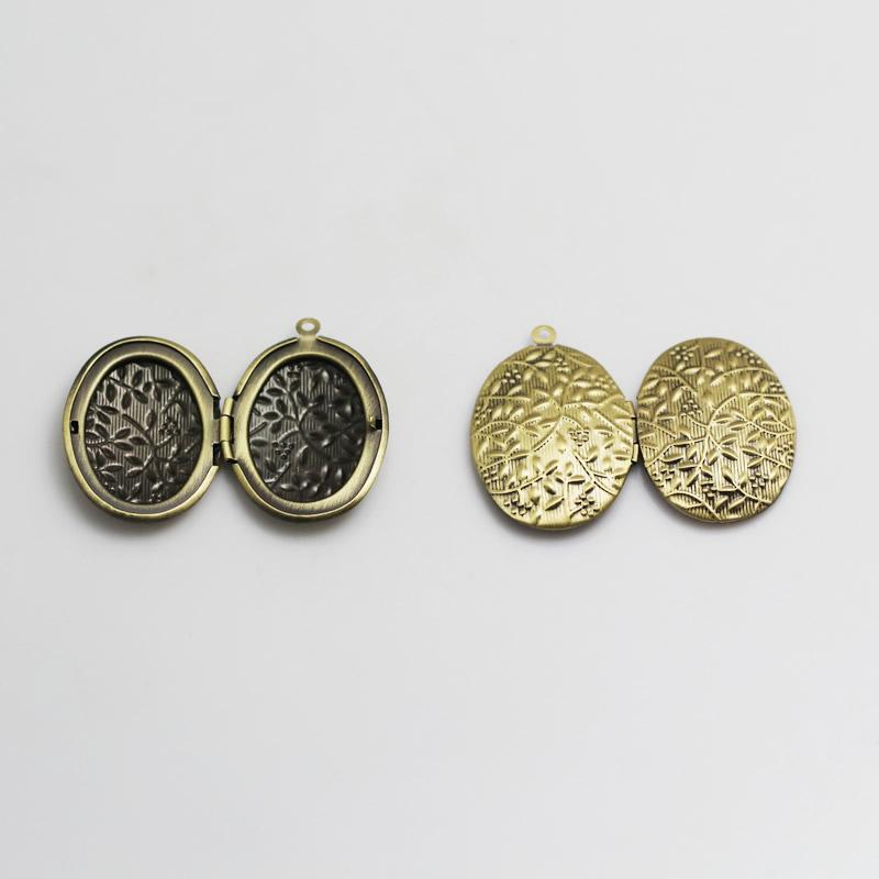 Beadsnice small locket frame pendant oval brass locket charm filigree blank photo locket handmade gift for him ID 3366