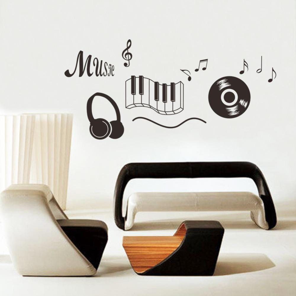 Music Sticker headphones Theme Music Bedroom Decor Dancing Music Note Removable Wall Sticker Adesivo De Parede Rooms Decor