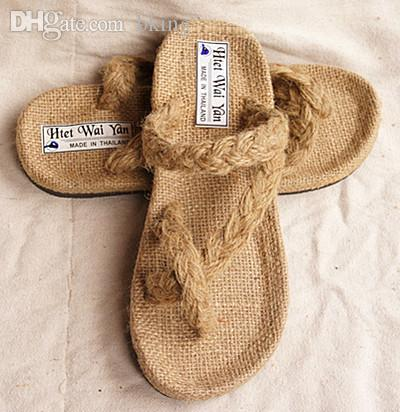 cc35ef58d417a Wholesale-New 2015 summer men's hemp sandals slippers,brand handmade  hand-woven straw sandals plus size 38-48