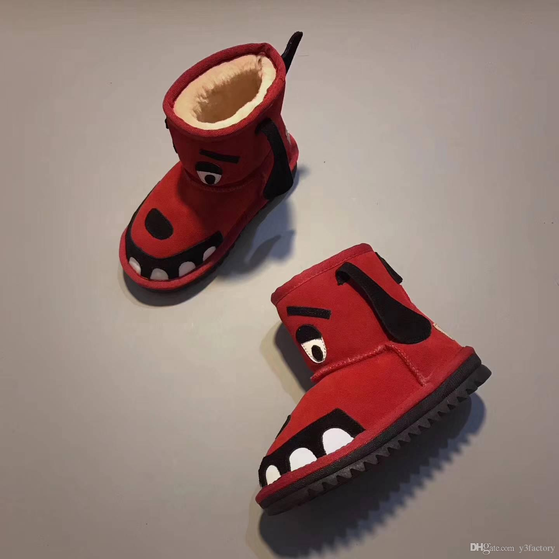 Top Invierno mantener caliente Niños dientes botas de nieve zurriago Tobillo para niños Auténtico Chicas lindas y niños snowboots zapatos unisex juvenil EUR 24-34