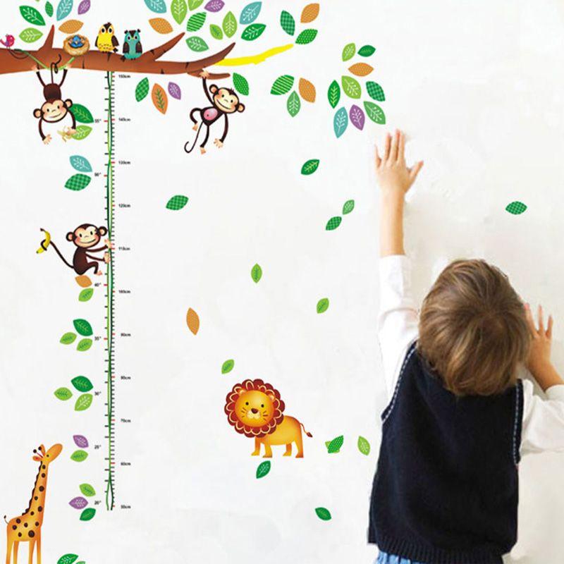 Cartoon Animals Height Ruler Wall Stickers Home Decor Owls Monkey Lion Giraffe Wall Mural Poster Height Measurement Growth Chart Wall Decals