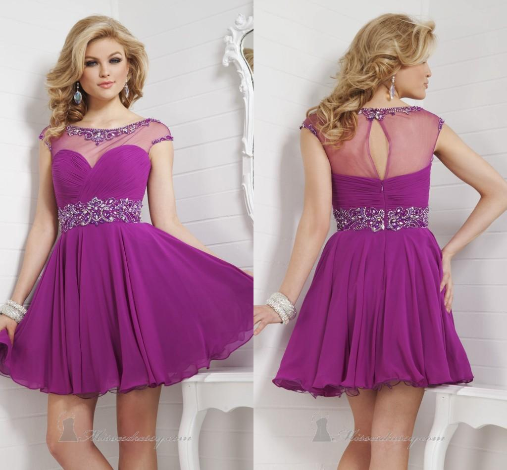Purple Prom Dresses Short Homecoming Dress Mini Beads Crystal ...