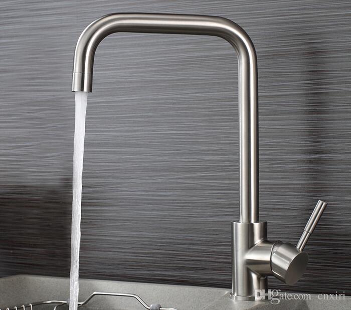 Центровой Современный длинный носик твердой латуни кухонный кран хромированная отделка бортике раковины миксера A-BL1007