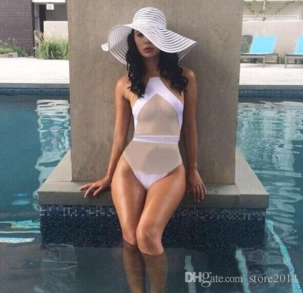 Yeni örgü siyah tek parça mayo seksi bikini monokini vintage mayo