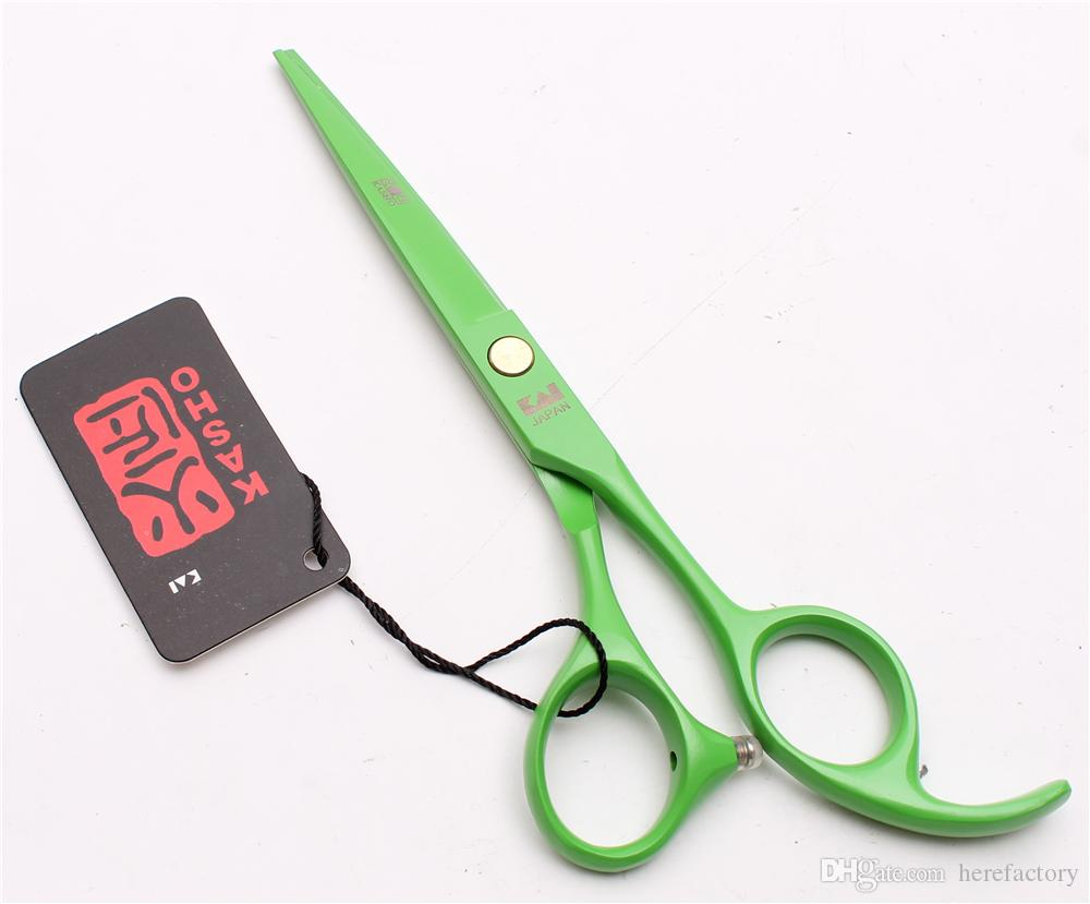 "H1023 5.5"" 440C Kasho Laser Green Professional Human Hair Scissors Barbers' Hairdressing Scissors Cutting Thinning Shears Salon Style Tools"