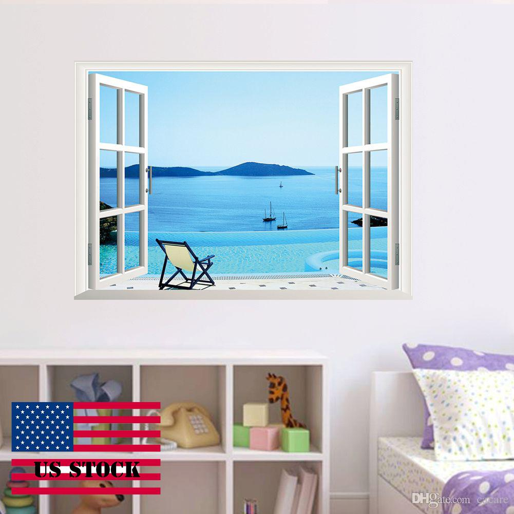 Cah009 3d Wall Sticker Blue Sky Window Removable Vinyl Wall Decal For Wall Office  Decor Home Art Us Stock Large Wall Decals Cheap Large Wall Decals For Kids  ...
