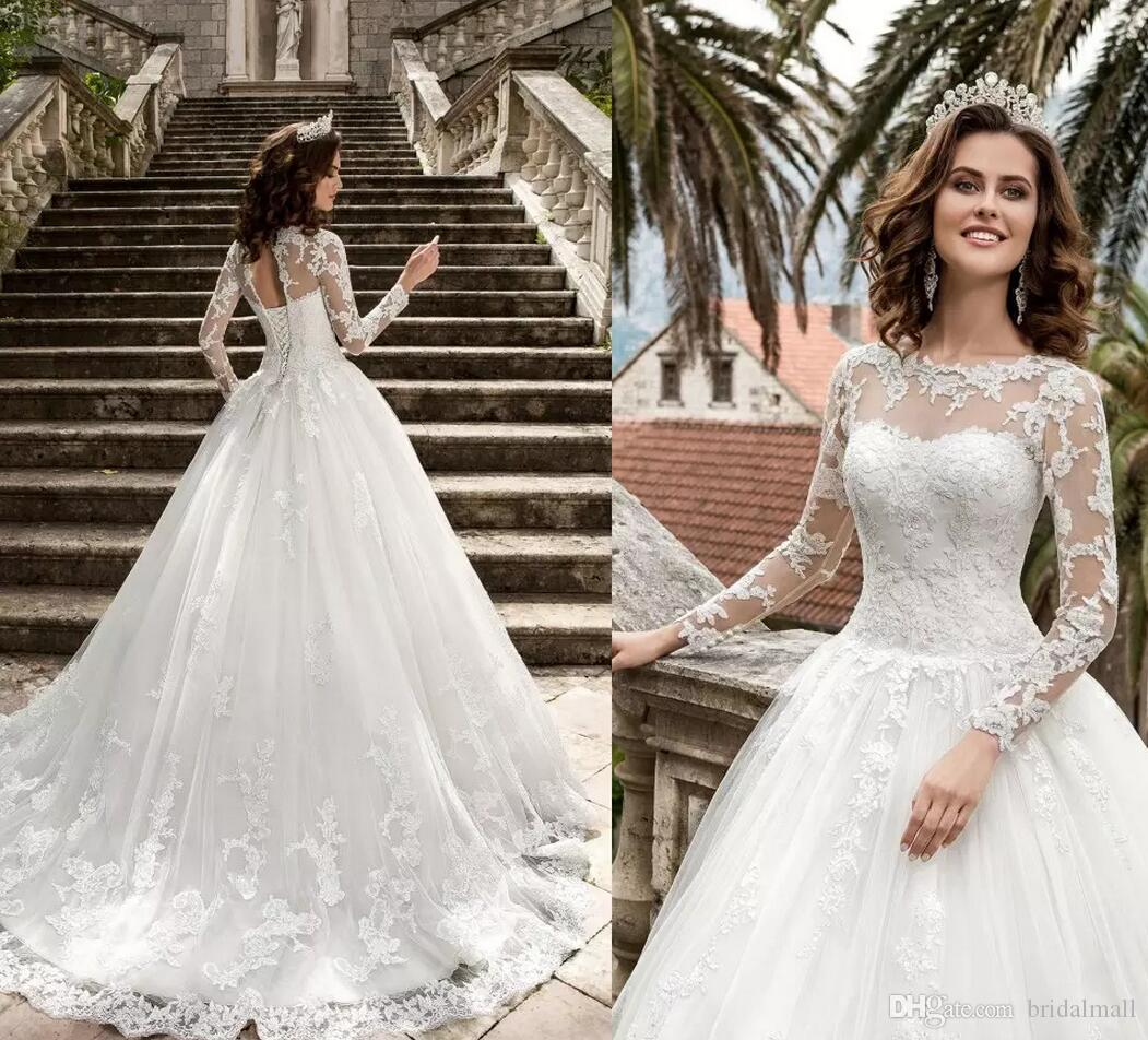 Ivory Lace Bodice Ball Gown Wedding Dress With Sheer Long: Discount 2018 New Vestios De Novia White Lace A Line