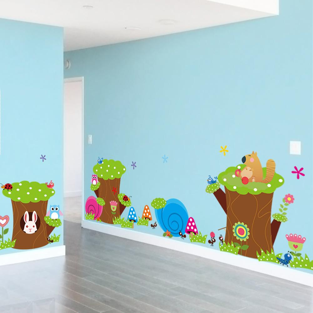 Cartoon Childrens Bedroom Wall Decals Cute Owl Animal Wall Stickers