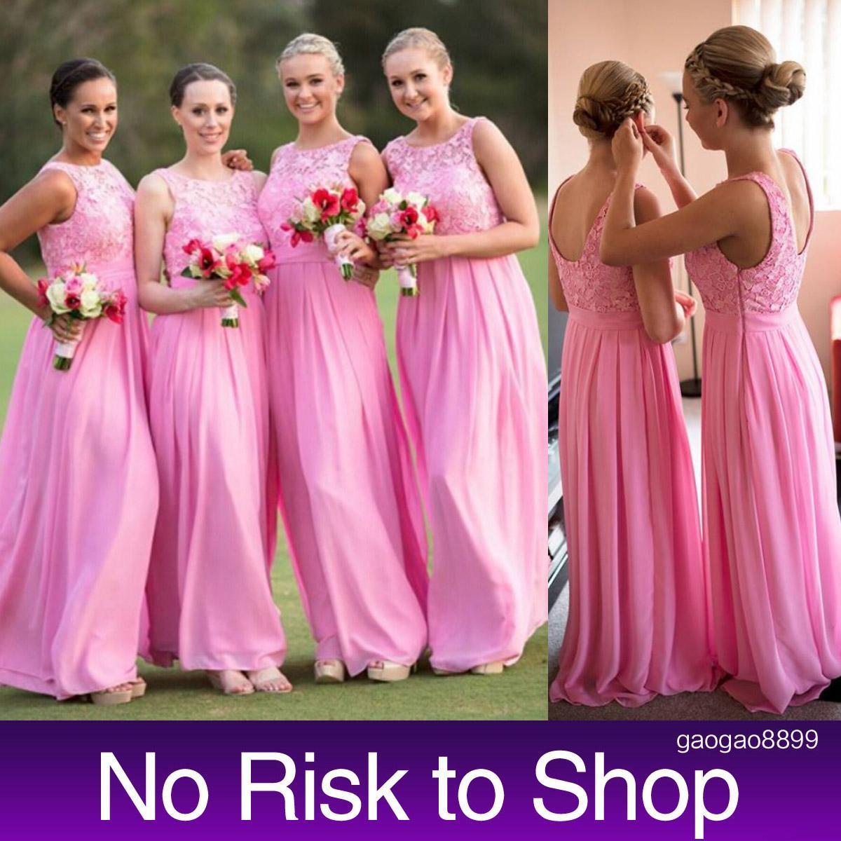 Pink Lace Chiffon Long Bridesmaid Dresses Backless Sheer Neck Floor ...