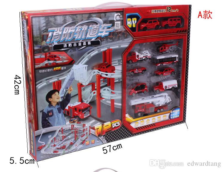 Alloy Cars Toys, City Transport System Model, include Fire Engine, Bus, Helicopter etc. with Rail, Super Big Size, for Kid' Gift, Collection