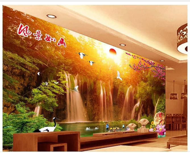 Papel de parede waterfall 3D backdrop non-woven wallpaper new large murals costomize size Free fast shipping 612y!!