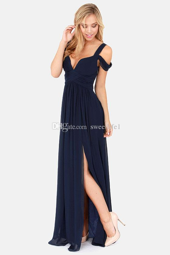 Stock Long Bridesmaid Dresses V Neck Lace up Back Split A Line Floor Length Formal Maid of Honor Cheap Beach Wedding party Dress Navy Blue