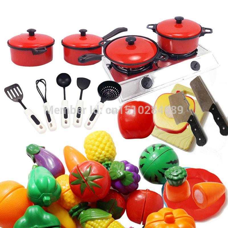 Christmas gifts 1Set Kids Play House Toy Kitchen Utensils Pots Pans Cooking  Food Dishes Cookware