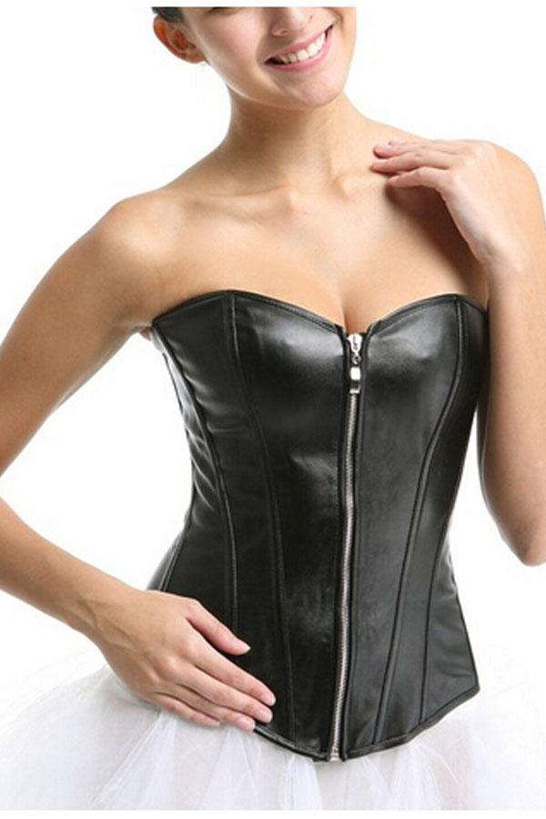 eb11336136 2019 Plus Size Sexy Overbust Women S Faux Leather V Neck Overbust Corset  Bustier S 6XL Punk Style Black Red From Bestielady