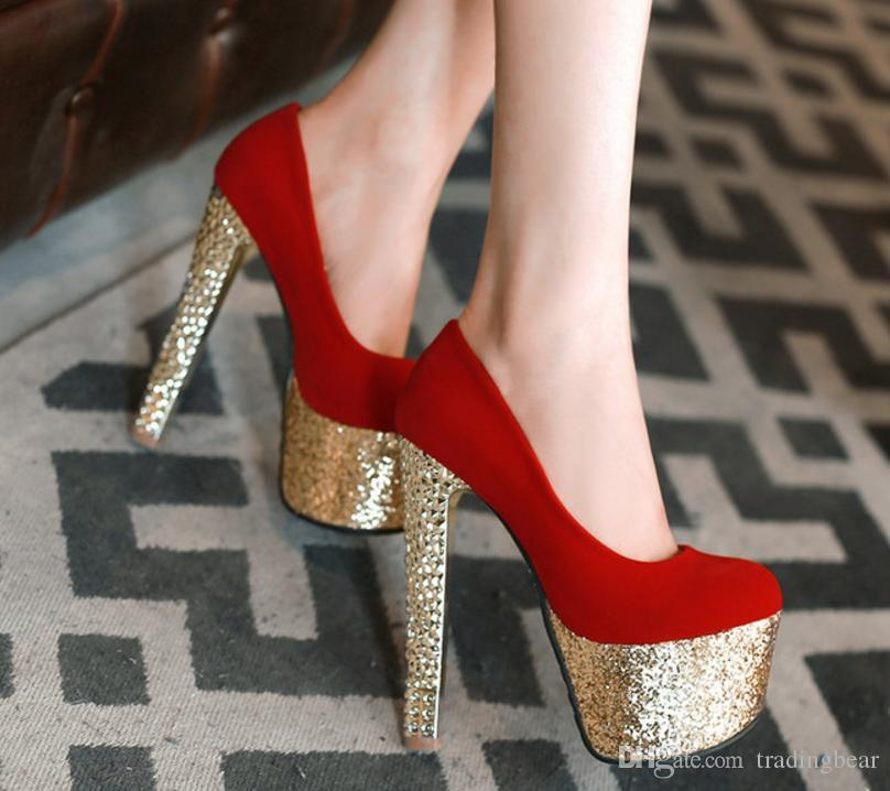 69def84963b plus size 33 34 to 40 41 42 43 glitter sequined red bottom high platform shoes  stiletto heels ladies luxury wedding shoes