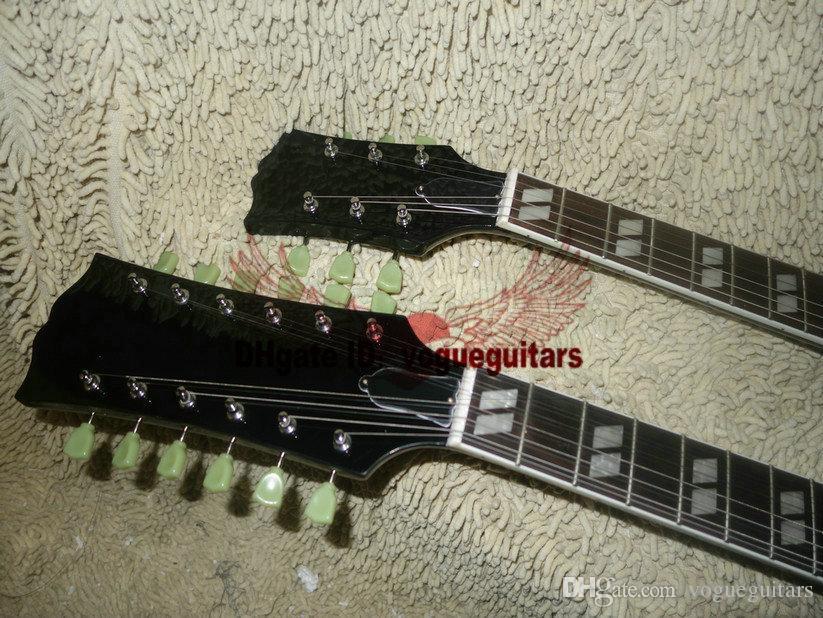 6/12 dizeleri 1275 Çift Boyun Led Zeppeli Sayfa İmzalı Yaşlı siyah gövde 12 dizeleri Elektro gitar