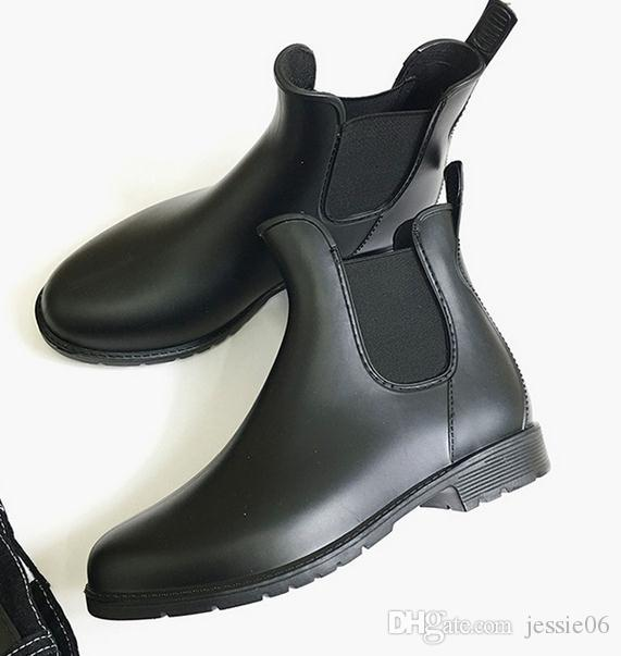Nuove donne di modo Jelly Ankle High Martin U Rain Boots Short gomma nera Wellies Rain shoes drop shipping