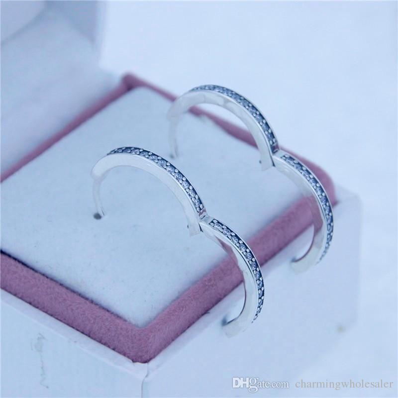 Подпись серьги Стад S925 стерлингового серебра подходит pandora стиль ювелирные изделия подвески бесплатная доставка лучшее качество ER110H9