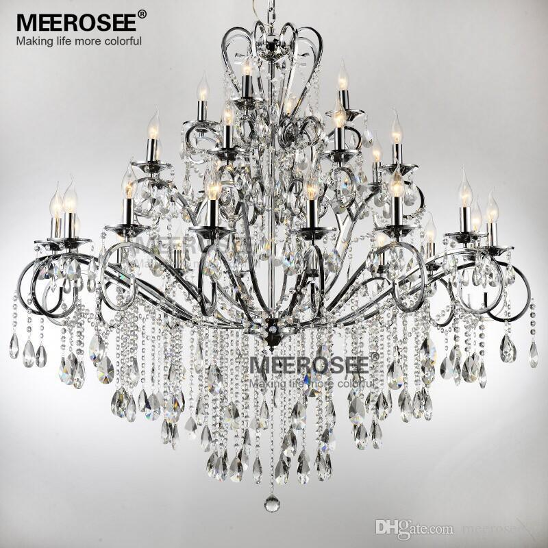 Large 28 Arms Wrought Iron Chandelier Crystal Light Fixture Chrome Re De Sala Hanging Lamp Md051 L28 Chandeliers On Outdoor