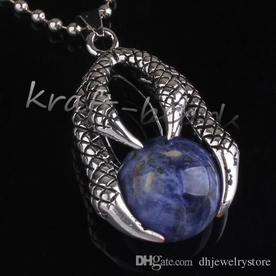 الجملة خمر الفضة مطلي التنين مخلب مختلف ستون جولة الخرز قلادة سحر مجوهرات للقلادة