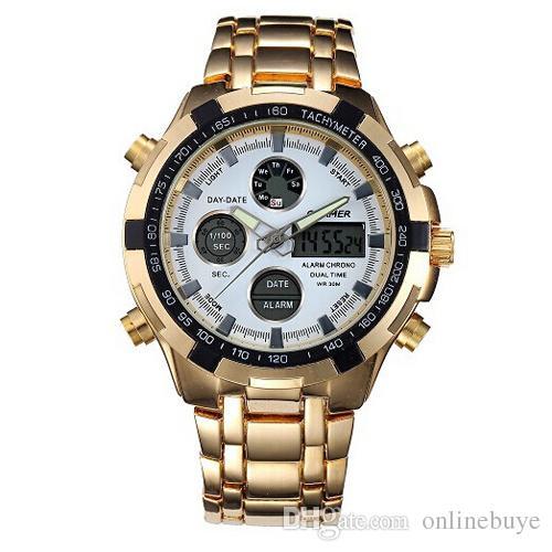 Moda Erkek Spor İzle Led Altın Büyük Yüz Kuvars-İzle Erkekler Su Geçirmez Bilek İzle Erkek Saatler Saat relogio masculino