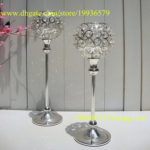10 pcs/lot Crystal globe Votive Candle Holder Metal Candle stand with Crystal Ball Silver-gold for Home decoration