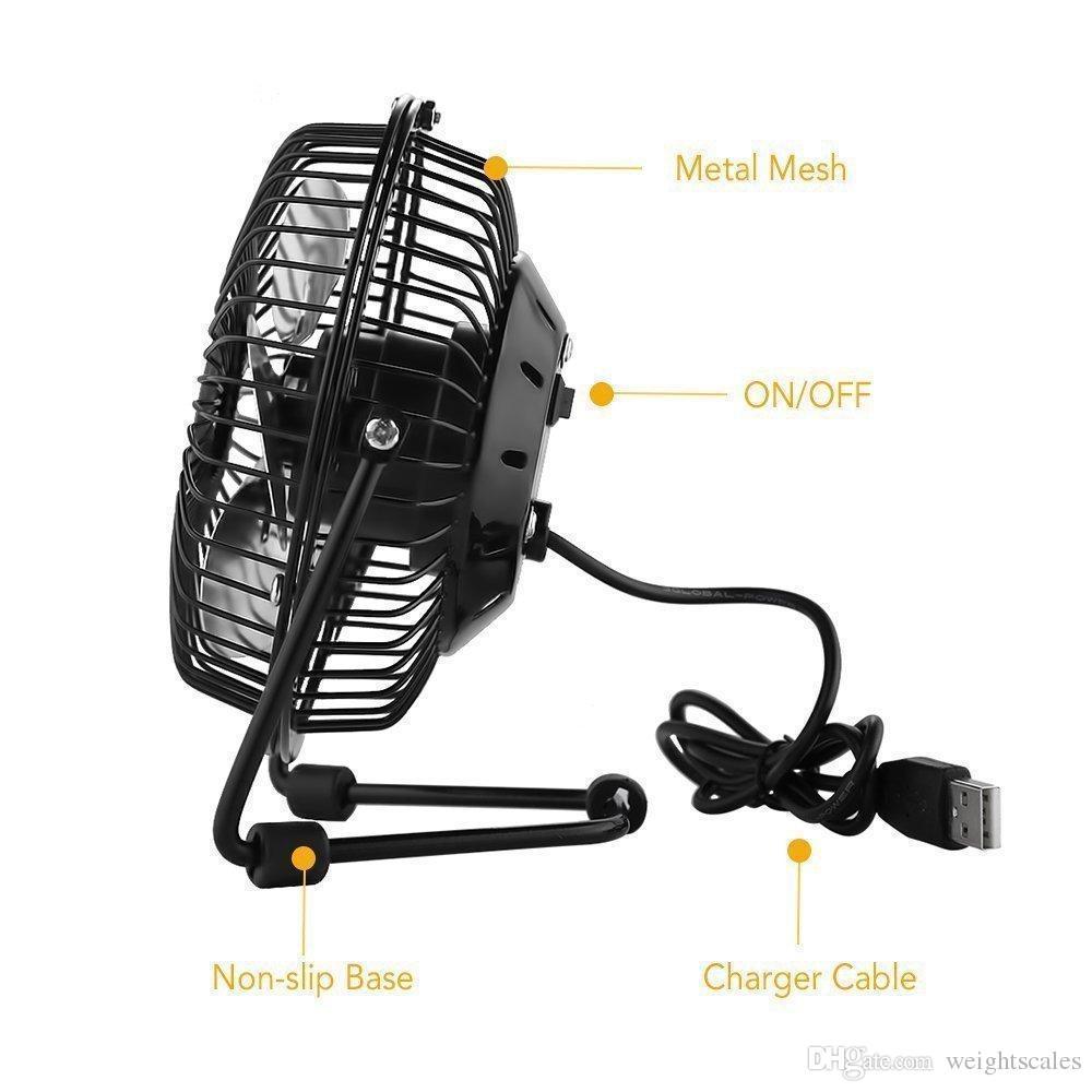 """Mini Portable USB Fan Cooler Cooling Desktop Power PC Laptop Desk Fan USB Electric 4"""" Metal Head Fan 360 Rotate Metel Mute Radiator Fans BL"""
