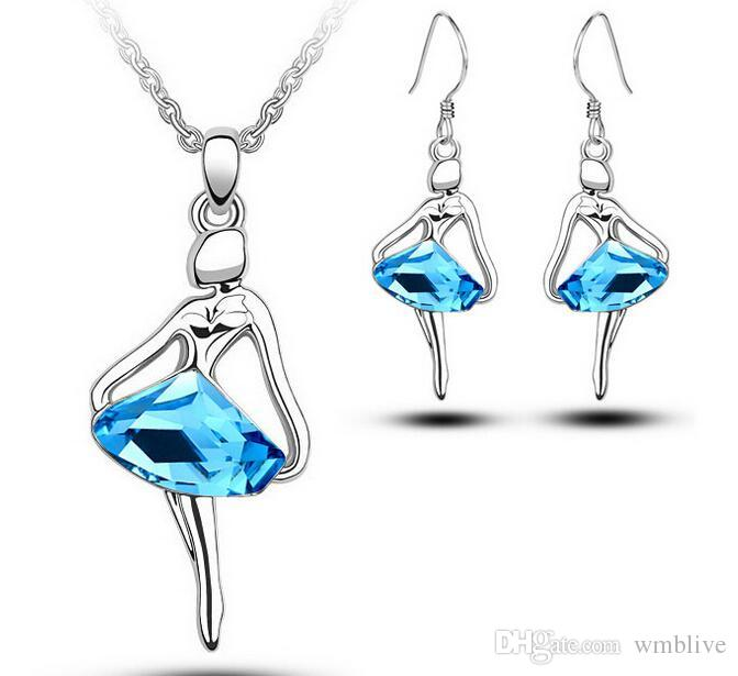 Wholesales Austria Crystal Dream Blue Girl Dance Necklace+Earrings Fashion Girl Angel Jewelry Set