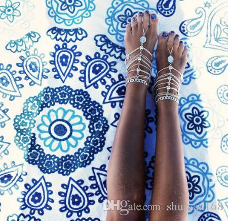 Sandales aux pieds nus Stretch Chaîne de cheville avec orteil Slave Chaînes de cheville Chain Sand Beach mariage demoiselle d'honneur pied bijoux