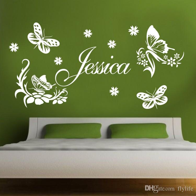 custom made butterfly personalized name vinyl wall stickers art for