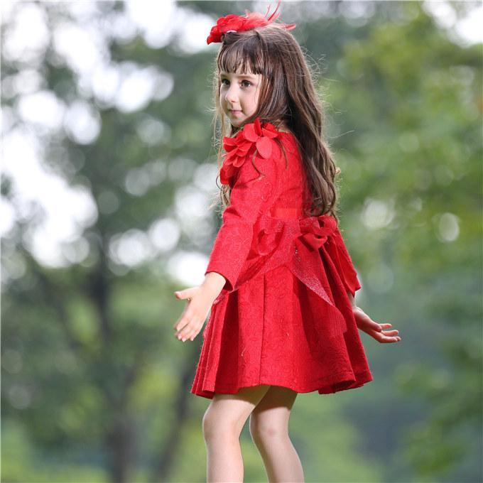 Pettigirl розничной осени девушки платье принцессы жаккардовые девушки цветка платье с поясом и зеленый Для детей Одежда Бесплатная доставка GD80615-1F