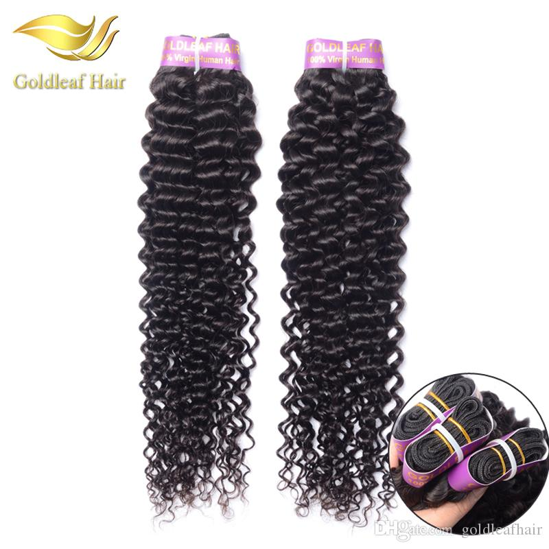 Pelo rizado malasio / Paquetes de cabello virgen de ola profunda de onda profunda 8-28 pulgadas Natural Negro Brasileño Peruano Indio Pelo rizado