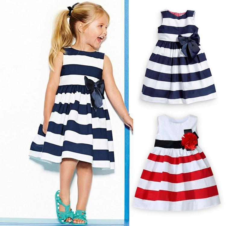 2019 2015 New Baby Girl Dress Navy Blue And White Striped Flower