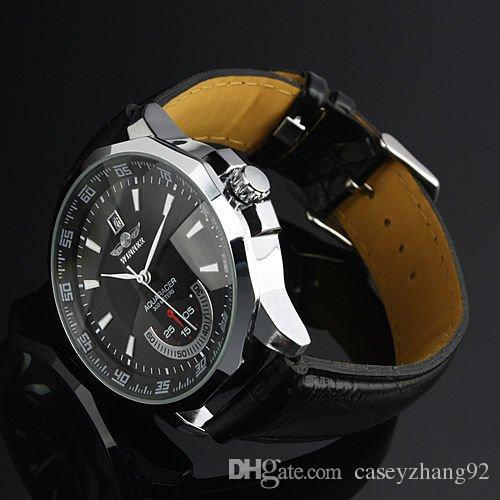 New ! Brand Logo Winner Leather Automatic Mechanical Skeleton Chronograph Watch Men Leather Watch Best Gift Top Quality