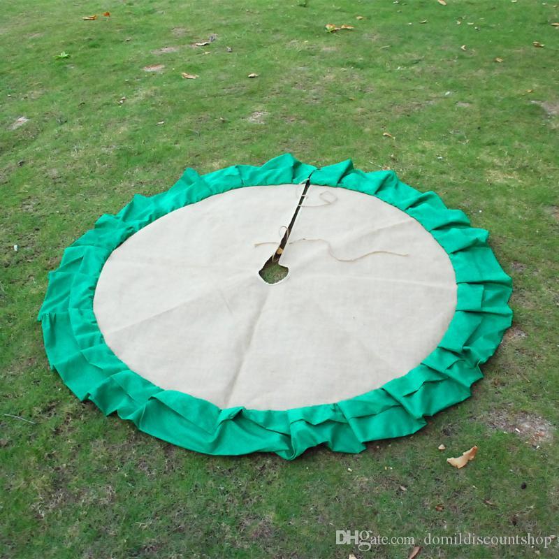 Çuval bezi malzeme pamuk fırfır Noel ağacı etekler 54 inç işlemeli Noel malzemeleri süsleme DOM103200