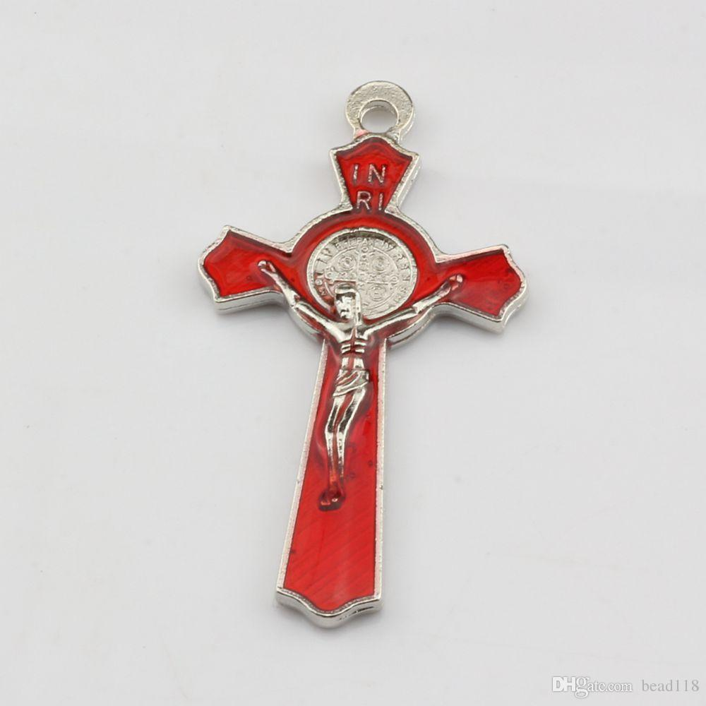 Hot ! Hot ! Two-Sided Enamel Cross Crucifix Charms 50*27MM DIY Jewelry