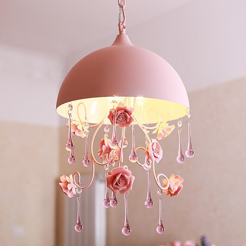 Discount Cute Pastoral Pink Rose Girlu0027S Room Pendant Light Creative Crystal  Princess Room Pendant Lamps Bedroom Hanging Lamp Hanging Fixtures Pendant  Globe ...