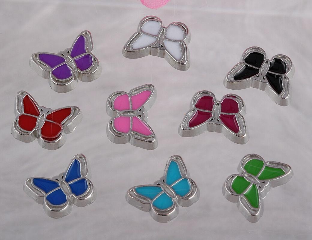 Flottant Médaillons Charms papillon émail cru d'argent pour le verre flottant mémoire vivante Médaillon design Charms assortis bijoux cadeaux