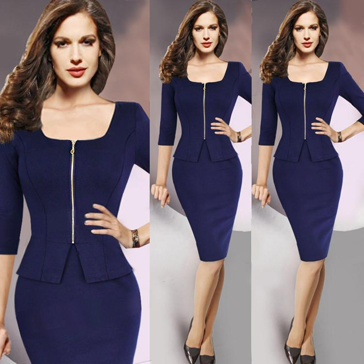Elegant Louts Pencil Work Dress Fake Two Set Seven Point Sleeve